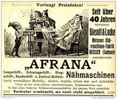 Original-Werbung/ Anzeige 1910 - AFRANA NÄHMASCHINEN / BIESOLT & LOCKE…