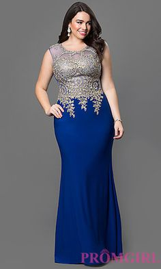 Floor Length Sleeveless Illusion Bodice Dress at PromGirl.com