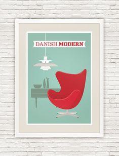 Danish modern poster print, Arne Jacobsen Egg chair illustration, Louis Poulsen PH5, wall art, retro,  Scandinavian design, Mid century