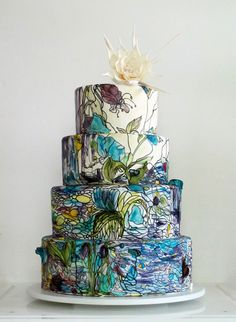 Blues Hand-Painted Wedding Cakes