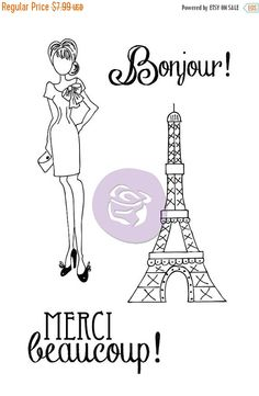 "SUPER SALE Brand New Prima - Julie Nutting - Mixed Media Doll Stamp Kit ""MERCI"" 910525 Just came in!!"