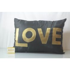 This #Black color in #silk with applique love cushion cover, features back zip; comes with poly filler