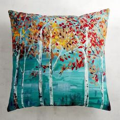 We love the watercolor effect of birch trees in the fall on our indoor/outdoor pillow, created by a new digital photography process that produces greater depth of color.