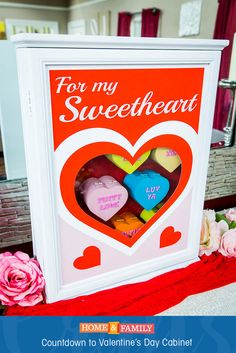 Countdown to Valentine's Day Cabinet -  Much like a Christmas Advent Calendar, this countdown cabinet can be fun activity for the kids leading up to February 14th! For more Valentine's Day crafts, tune in to Home and Family weekdays at 10/9c on Hallmark Channel!