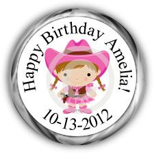 Cowgirl Personalized Birthday Hershey Kisses Labels