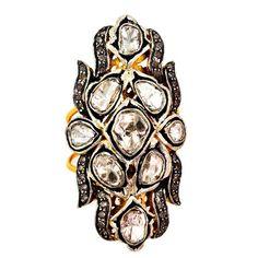 14K Gold Rose Cut Diamond Sterling Silver Victorian Ring Vintage Look Jewelry #raj_jewels #Cocktail #Wedding