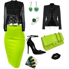 A fashion look from January 2017 by mireille-a featuring self-portrait, Balmain, Chanel, Bling Jewelry, greenandblack, GreenSkirt and balmainjacket