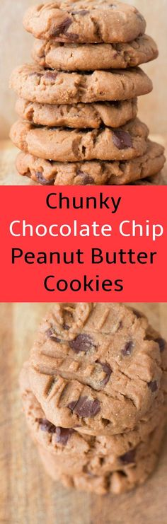 Delicious recipe for Extra Chunky Chocolate Chip Peanut Butter Cookies. These are one of my most requested cookies to bake!