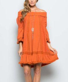 Another great find on #zulily! Pumpkin Ruffle Off-Shoulder Dress #zulilyfinds