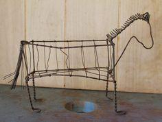 Unique Wire Horse Sculpture and Basket - Home Decor -  Primitive - Rustic - Shabby Chic - Cottage Decor