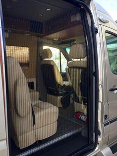 Retractable Screen Door on RoadTrek Sprinter Conversion Van Custom Camper Vans, Car Camper, Sprinter Van Conversion, Camper Conversion, Van Conversion Accessories, Van Organization, Retractable Screen Door, Custom Screens, Small Trailer