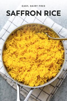 Skip those yellow rice packets! Learn how to make this easy saffron rice recipe with just a few simple ingredients and steps. This Spanish rice is a beautiful, vibrant side dish that works with just about anything. Try pairing it with this simple Spanish chicken or lamb kofta for a Mediterranean inspired meal.