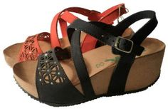 Black wedge sandals made in Italy by Bionatura spring 2015