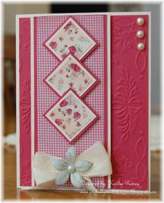 handmade card ... luv the design for inchies ... uses printed paper from a one-sheet wonder set of cards .. rich pinks ...