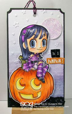 """Halloween Tia"" tag; Digital Stamp by Some Odd Girl"