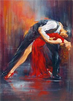Vintage Portrait Oil Paintings Painting Canvas Art Love Tango Dance Lady in Red