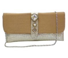 Mosaic pattern clutch with 3 stone brooch (light gold)