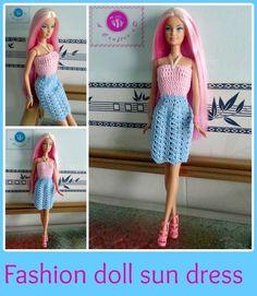 Crochet fashion doll sun dress - Maz Kwok's Designs