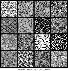 16 Black White Seamless Vector Patterns Stock Vector (Royalty Free) 110395265 row – third from left; top row from left. 16 black and white seamless vector patterns. Doodle Art Drawing, Zentangle Drawings, Mandala Drawing, Art Drawings, Zentangles, Abstract Drawings, Drawing Ideas, Doodle Art Designs, Doodle Patterns