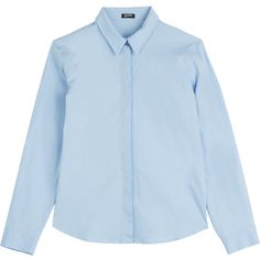 Jil Sander Navy Earlene Cotton Poplin Shirt (€135) ❤ liked on Polyvore featuring tops, shirts, blue, blue crop top, tailored shirts, slim fit shirts, blue top and crop top