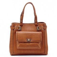 Women's Cognac Faux Leather Large Shopper | Mirren by Sole Society