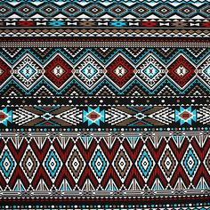 """Red Turquoise Aztec Stripe Cotton Spandex Knit Fabric - A customer favorite back in a new color version!  On trend Aztec ethnic inspired print in colors of red, turquoise blue, taupe brown, and black on a mid weight cotton spandex knit.  Fabric is soft with a nice drape and 4 way stretch.  Pattern repeat is 27 1/2"""".  ::  $6.50"""