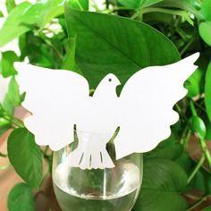 20 pcs carte de verre marque place forme de colombe décoration de table - blanc Noms, Confirmation, Communion, Etsy, Handmade Gifts, Drinkware, White People, Affirmations, Community