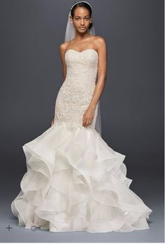 Oleg Cassini Dress-Scroll Lace Trumpet (David's Bridal-Romantic) CWG769