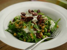 Chickpea, Edamame and Cottage Cheese Salad