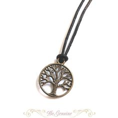Boho Necklace Leather Chocker Black Tree of Life Necklace Rustic... ($15) ❤ liked on Polyvore featuring jewelry, necklaces, leather cord choker, leather cord necklace, choker necklaces, charm pendants and adjustable knot necklace