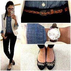 Chambray shirt, khaki blazer, & leopard print flats.