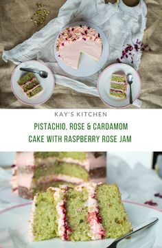 Pistachio, Rose Cardamom Cake With Raspberry Rose Jam – Kay's Kitchen Baking Recipes, Cake Recipes, Dessert Recipes, Baking Desserts, Food Cakes, Cupcake Cakes, Mini Cakes, Cupcake Toppers, Cardamom Cake