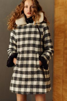 Shearling, Plaid, Asmmetrical zip design. Cuffs look like they are part of the undershirt but give unique effect as part of the look... See by Chloé Pre-Fall 2016 Fashion Show