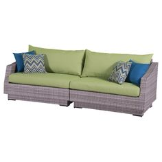 "RST Brands Cannes 2-Piece Sofa with Cushions, Ginkgo Green, 31"" x 96"" x 33"". Overall dimensions: sofa: 96 in  w x 33 in  d x 31 in  h seat height: 19 in weight capacity: 400 lbs. Powder-Coated aluminum frame. Holds up great in salt and chlorinated environments. Warranty details: one year."