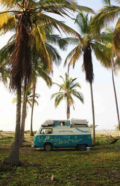 Volkswagen mini van at Costeno Beach Columbia Columbia South America, Summer Travel, Surf Travel, Colombia Travel, Surf Trip, Sea Theme, Beach Fun, Vw T1, Volkswagen
