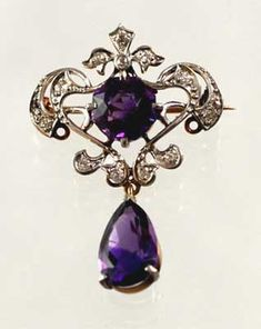 Sold Antique & Victorian Jewelry from Perfect Jewels and Clayton Antiques - Archives Purple Jewelry, Amethyst Jewelry, Royal Jewelry, Jewelry Box, Jewelry Accessories, Fine Jewelry, Amethyst Pendant, Jewellery, Diamond Jewelry