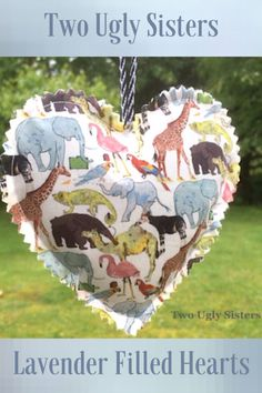 Safari Animal Decorative Dried Lavender Fragrant Decorative Heart Hanging Sachet Gift for Her Jungle Animal Print Fabric Two Ugly Sisters Safari Theme Nursery, Nursery Themes, Themed Nursery, Owl Quilts, Owl Bags, Sewing Room Decor, Retro Caravan, Felt Owls, Pretty Bedroom