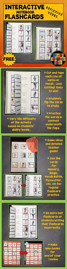 Try a set of Spanish interactive notebook flashcards for the reflexives for free. These versatile flashcards are great for studying, games, and class activities. World Language Cafe