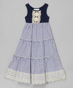 Loving this Navy Stripe Tiered Maxi Dress - Girls on #zulily! #zulilyfinds