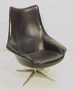 H.W. Klein; Steel and Leather Swivel Lounge Chair, 1960s.