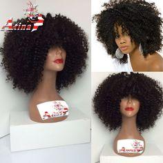 Pas cher 7A sans colle Lace Front perruque Bob les femmes afro américaines pleine dentelle perruques de cheveux humains Afro crépus bouclés perruque avec une frange pour les femmes noires, Acheter  Perruques de qualité directement des fournisseurs de Chine:                      Abordable                                    Non transformés                                    7A