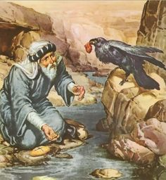 Elijah being fed by the ravens. Scripture Pictures, Religious Pictures, Jesus Pictures, Religious Art, La Sainte Bible, Religion Catolica, Bible Illustrations, Jesus Art, Prophetic Art