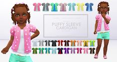 Puffy Sleeve Cardigan For Toddlers Swatches) - created by Onyx Sims Sims 4 Mm Cc, My Sims, Toddler Outfits, Kids Outfits, Sims 4 Toddler, Toddler Stuff, Sims 4 Blog, Sims 4 Studio, Sims 4 Clothing