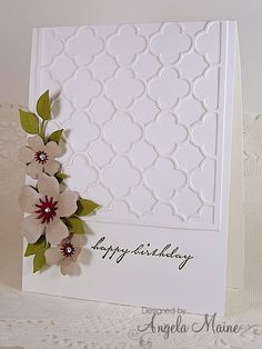 "from the tool shed: Sandy Birthday and Christmas Uses  Momenta flower die, punch bunch small sun, Elizabeth curvy leaves die, Taylored Expressions ""Quatrefoil"" die"