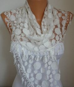 Creamy White  Lace Scarf  Women Scarves  Summer scarf by anils, $18.00