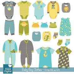 Boy Baby Clothes clip art baby clothing baby boy by DigiKika