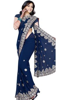 Blue Faux Georgette Saree With Blouse Online Shopping: SWY2046 $60