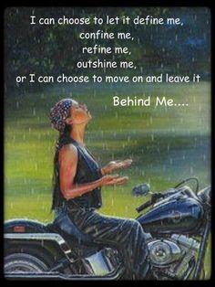 A girl on a bike, but not a biker chick.