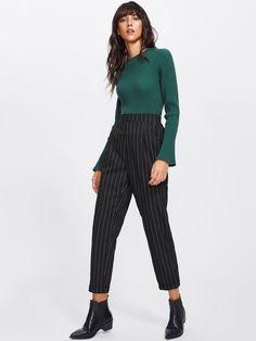 Pantalons rayure mince -French SheIn(Sheinside) Pantalon Rayure, Rayures,  Modèle De ec8a5ee3fd35