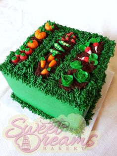 From Sweet Dreams Bakery - Tennessee Cake Icing, Buttercream Cake, Cupcake Cakes, Allotment Cake, Vegetable Garden Cake, Garden Cupcakes, 90th Birthday Cakes, Dad Cake, Cake Works